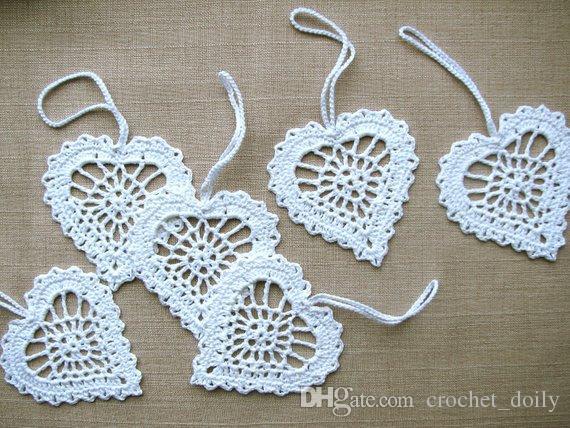 белые сердца вязание крючком аппликации свадебные декоры сувениры белый