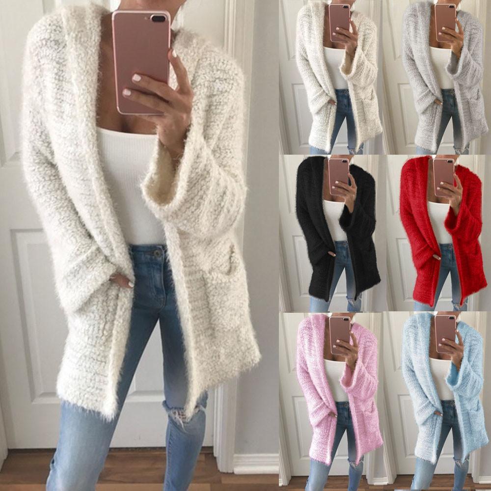 Acheter 2019 NOUVEAU 2018 Femmes Hiver Mode Manteau Solide Nouveau Cardigan  En Maille À Capuche Pardessus De Poche À Manches Longues Casual Lâche Warm  ... e7b53b38186