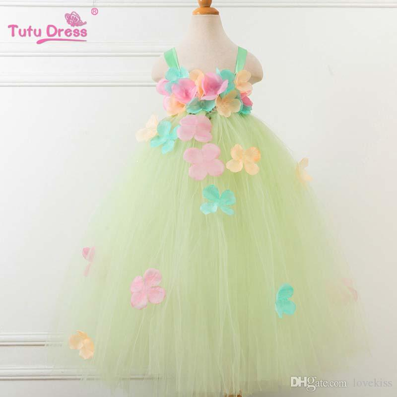 2019 Ins 2018 New Floral Long Girls Princess Dresses Birthday Baby