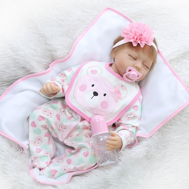 40be1ef1364 Wholesale Soft Silicone Baby Doll That Look Real 22inch 55cm Newborn Baby  Doll Kids Playhouse Doll Women Expectant Mother Trainging Toy Black Dolls  Doll ...