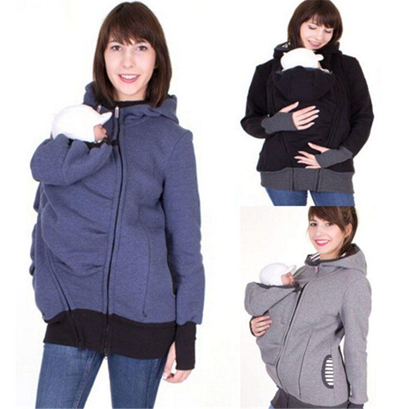 النساء الخريف الشتاء الطفل الناقل هوديي زمم الكنغر الكنغر مقنع البلوز البلوز 2 في 1 قميص قمم 10 ألوان C3675