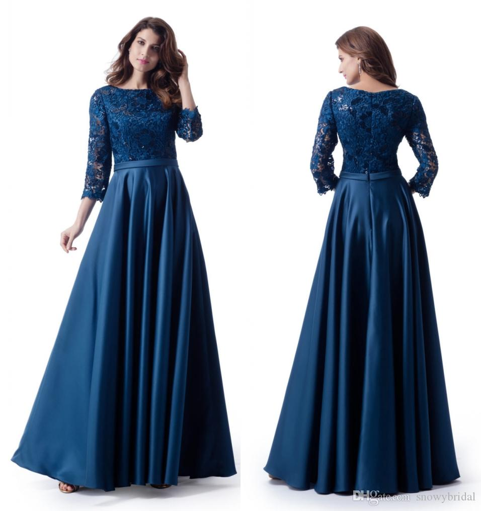 7fe7af8903 Navy Blue Long Modest Prom Dresses 2018 With Sleeves A-line Lace Top Satin  Skirt Teens Prom Party Dress Floor Length online Custom Made