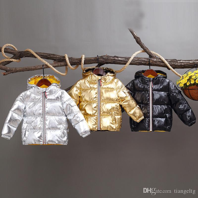 Hooded Down Coats Space Silver Polyester Tinckening Bread Clothes Filling Cotton Inside Yellow Soft Zipper England Style Boys Girls Winter
