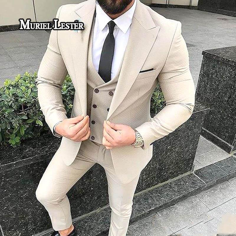 bc27d180ca 2019 Muriel Lester Latest Men Suits Set 2018 Peaked Lapel Slim Fit Blazer  Tailor Made Wedding Groom Tuxedos Wedding Suits Men From Lemon888, ...