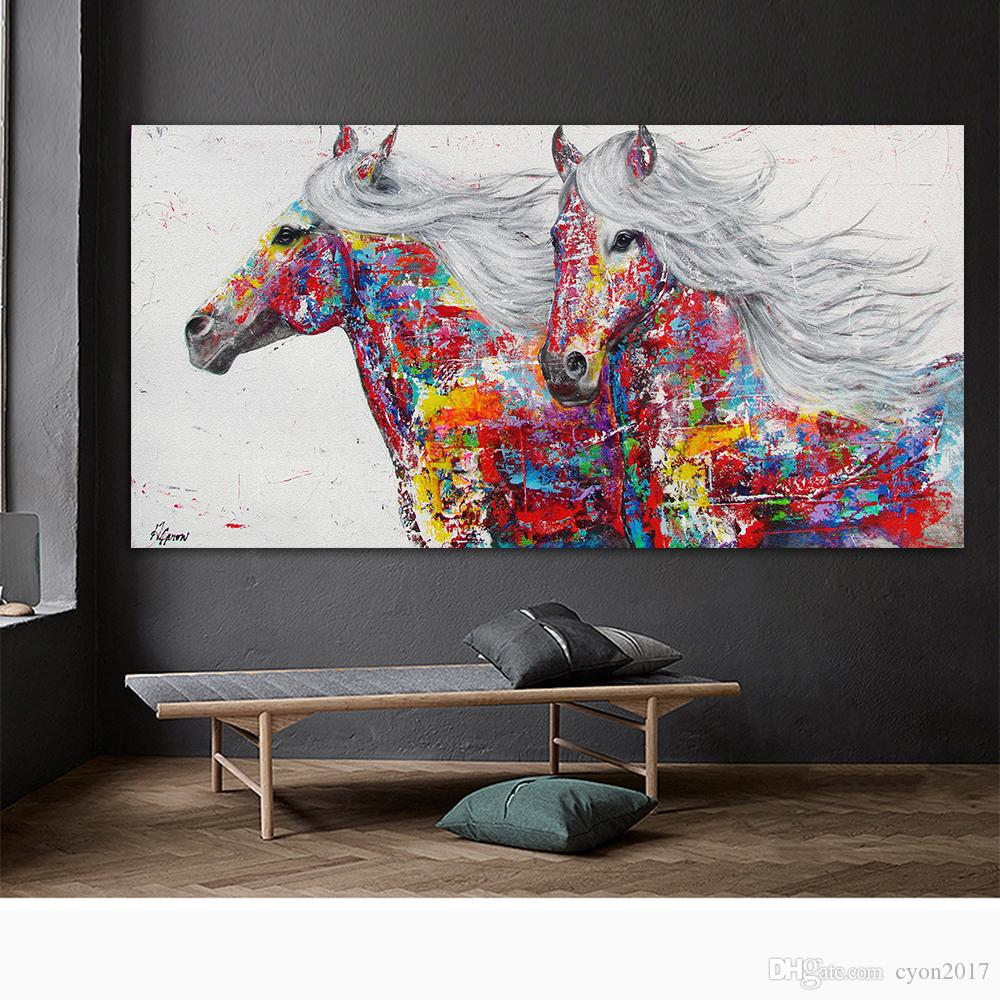Animal Poster Horse Riding Oil Painting Canvas Art Wall Pictures for Living Room Posters and Prints Nordic Home Decor Large Size