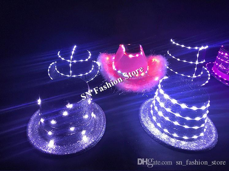 LZ36 LED luminous light hat ballroom dance led costumes dj car catwalks stage show wears dj clothes dress party wears led light performance