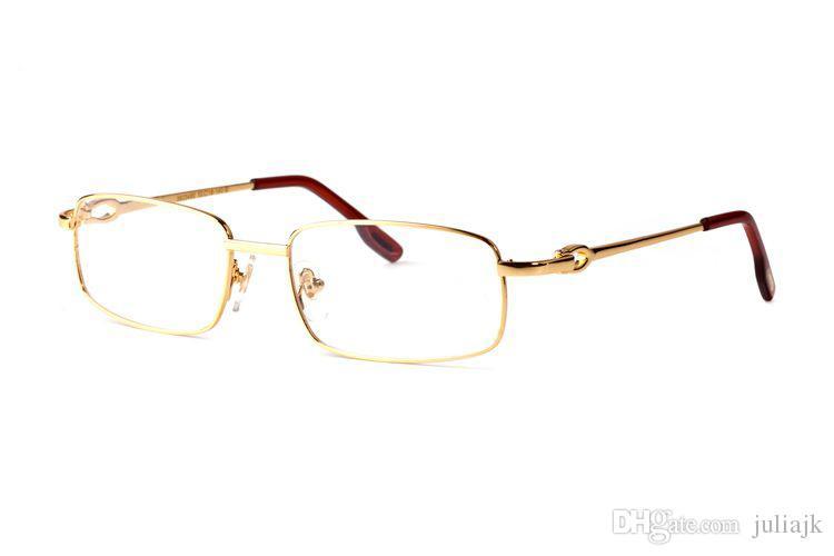 Marca de design lentes claras nerd leitura sem aro metade do quadro de liga de metal de prata de ouro quadro moda búfalo óculos para mulheres dos homens óculos de sol