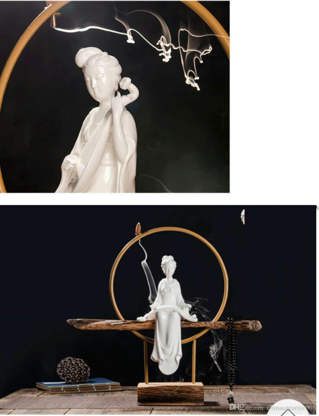 Ladies Decoration Incense burner creative white porcelain home living room weathered wood base classical crafts