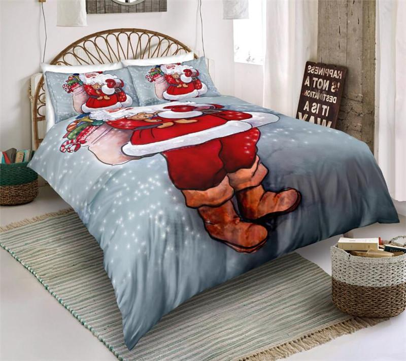 Christmas Bedding Sets Quilt Cover Pillows 3D Cartoon Printing Duvet ...