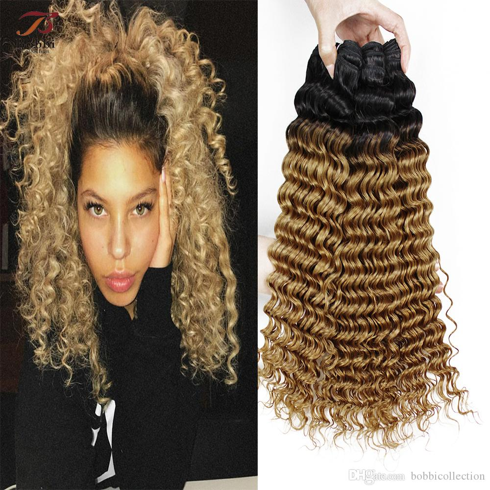 Fashion style Roots dark blonde curly hair for woman