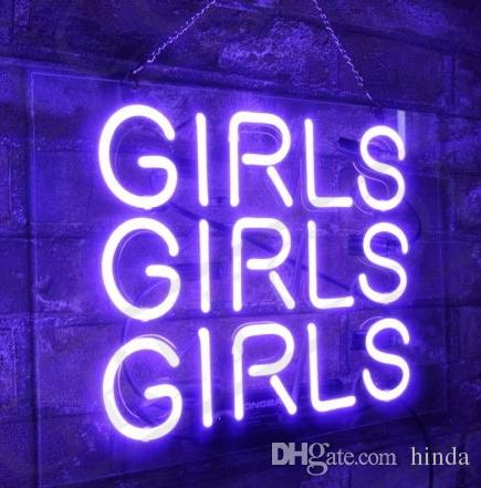 Purple GIRLS GIRLS GIRLS glass tube Neon Light Sign Home Beer Bar Pub  Recreation Room Game Lights Windows Glass Wall Signs 24*20 inches