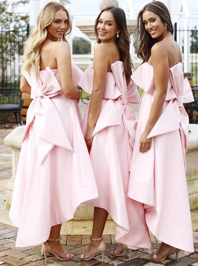 Großhandelsverkauf herausragende Eigenschaften Für Original auswählen Rosa Brautjungfer Kleid eine Linie Fleck Knöchel Länge Hallo Low aus der  Schulter Bogen Knoten Kleid für Hochzeit Gast Vestidos De Trauzeugin Kleid