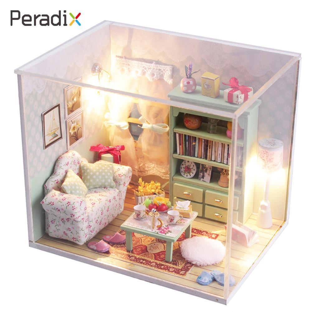 Kits Diy Wood Handmade Dollhouse Sofa Miniature With Led Furniture