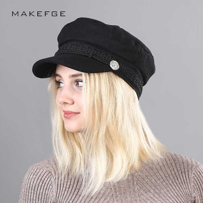 Compre Primavera 2018 Vintage Sombreros Para Mujer Nueva Moda Sombrero  Militar Gorras Planas Snapback Gorras Mujer Casquette Sombrero Para El Sol  Casquillo ... ea275967e24