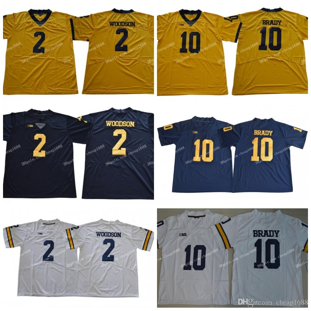 buy popular 2a96f 30196 NCAA Michigan Wolverines #2 Charles Woodson #10 Tom Brady Yellow Navy Blue  White College Football Stitched Jerseys
