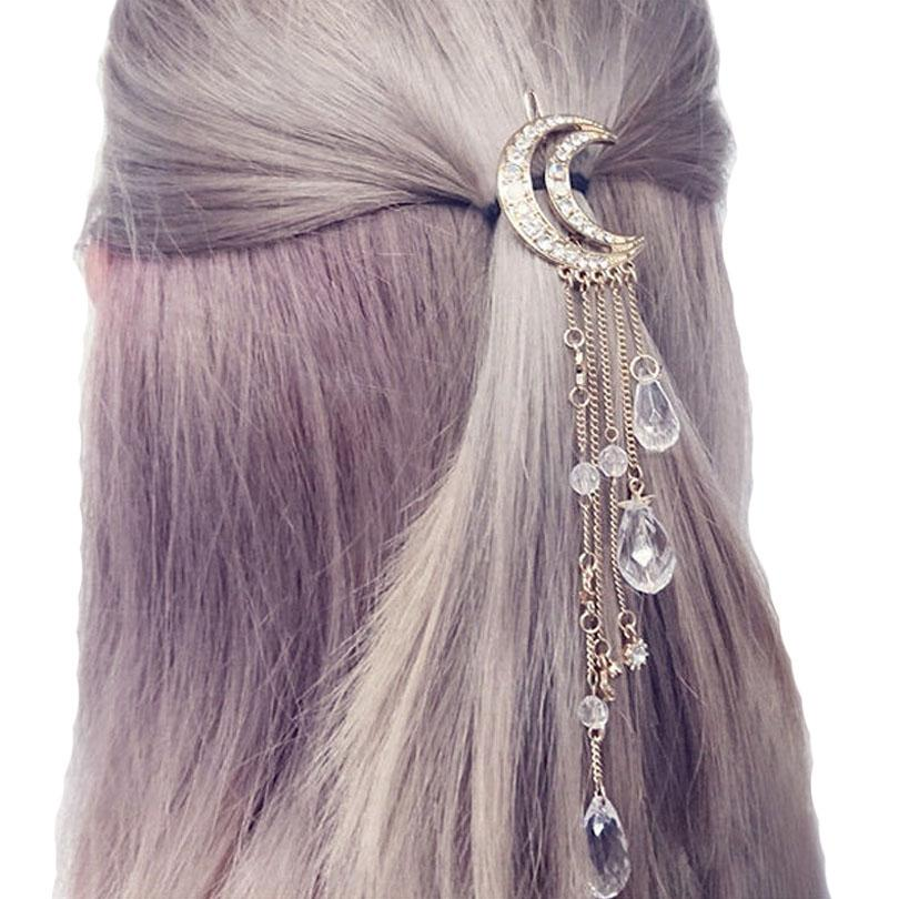 Haimeikang Exquisite Gold/Silver/Rose Gold Color Crystal Moon Hair Clip Tassel Hairpins Brushes Long Hair Accessories