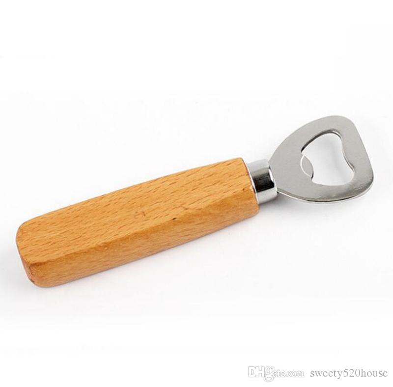 Kitchen Bottle Opener Tools Wooden Handle Beer Openers Bar Tools Soda Beer Bottle Cap Opener Wine Bottle Opener Tool