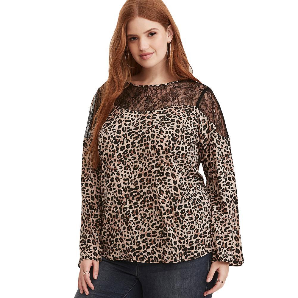 a04bb9157c Camicetta sexy delle donne Stampa leopardata Camicetta di pizzo O Collo  Camicie da donna manica lunga Pullover Top Marrone Plus Size 3XL 4XL 5XL  6XL ...