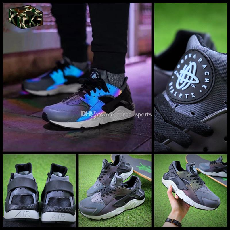 2075c00e2076 2018 New Air Huarache Chameleon 3M Reflective Ultra Running Shoes For Men    Women Sneakers Huaraches Trainers Huraches Sport Hurache Shoes Track Shoes  Best ...
