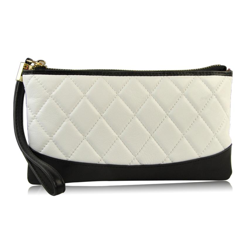 Women Genuine Leather Clutch Handbag Wristlet