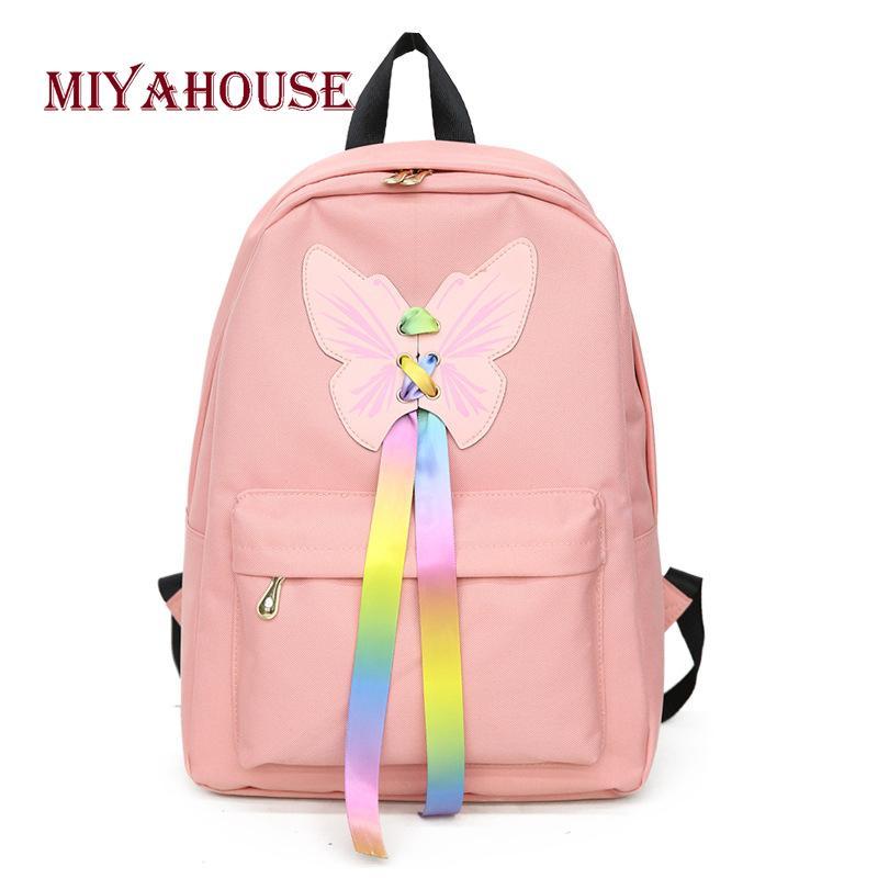 Miyahouse Korean Women Harajuku Backpacks Student School Bags Campus Causal Backpack  Female Hit Color Cartoon Design Rucksack Mens Backpacks Swiss Army ... 0b74f0784