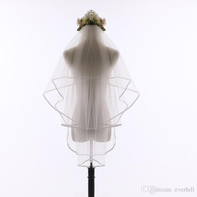 JaneVini Elegant Black Two Layers Wedding Veil with Comb Ribbon Edge Tulle Short Bride Veils White/Red Bridal Hair Veil Wedding Accessories