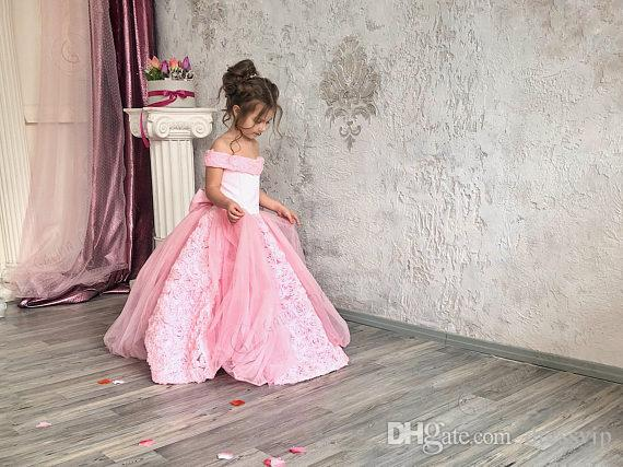 Pink Flower Girl Dress For Wedding Lace Tulle 3D Floral Flower Bow Lace Up Off The Shoulder Girls Pageant Dress Birthday Party Gowns