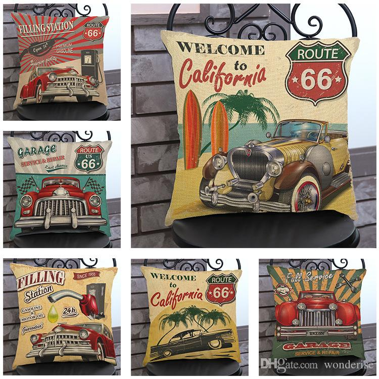 Großhandel California Route 66 Kunst Kissenbezüge Amerikanischen