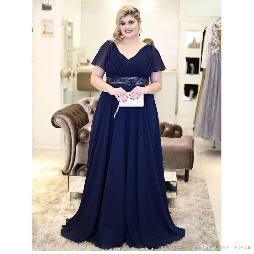 Navy Blue Plus Size A Line Chiffon Mother of the Bride Dresses V Neck Short  Sleeve Evening Gown Long Women s Special Occasion Dress