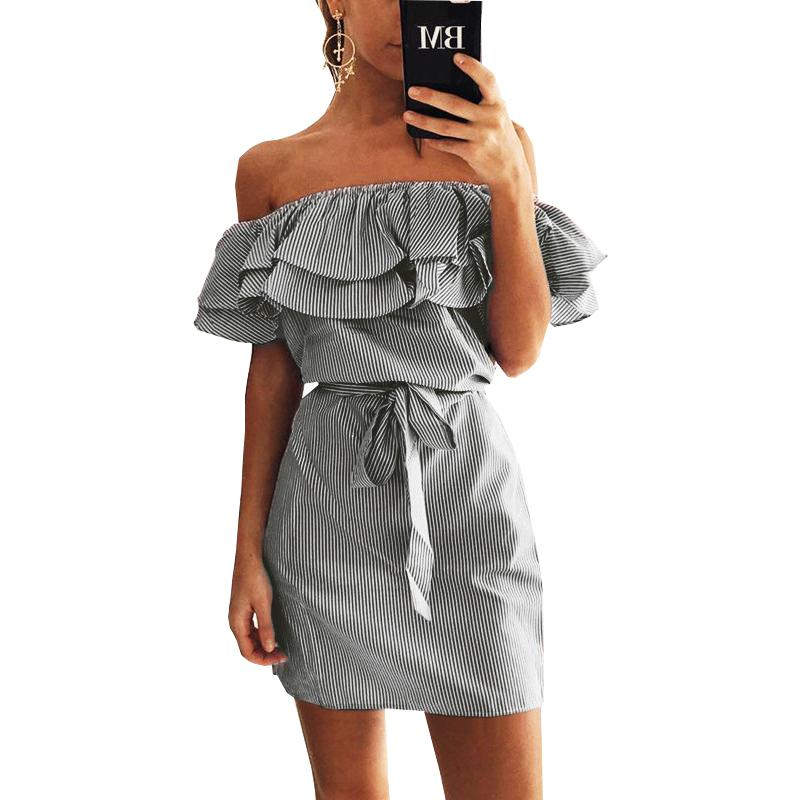 fe5e2df37d9 2019 Kawaii Summer Striped Dress Ruffles Women Dress Sexy Slash Neck Mini  Dress Beach Party Dresses Mujer Femme GV563