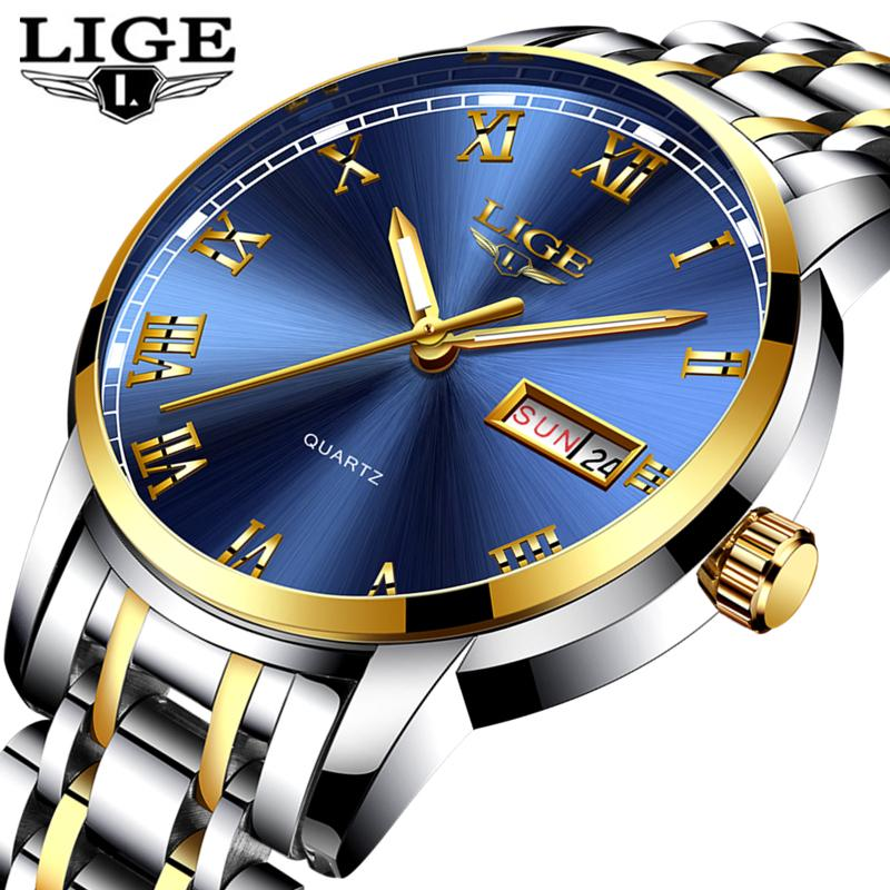 Compre Lige Reloj Hombres Moda Deportes Cuarzo Completo Acero Oro Negocio  Mens Relojes Marca Superior De Lujo Reloj A Prueba De Agua Relogio  Masculino A ... 08be1df887ba