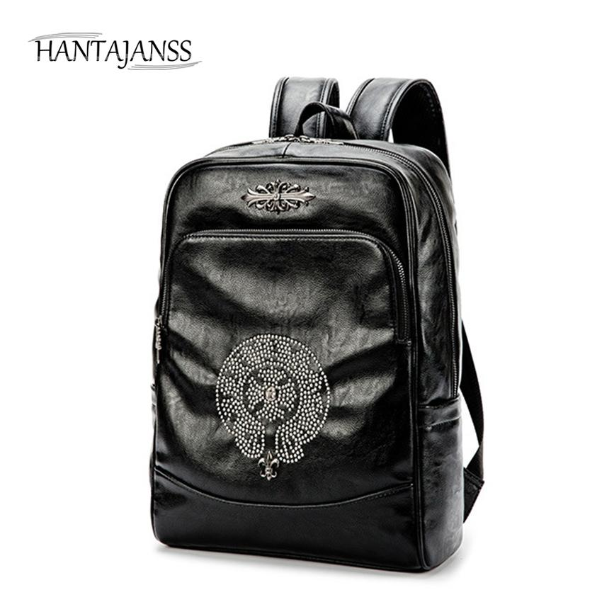 c98c4679d58c HANTAJANSS New Men women leather Backpack Fashion laptop backpacks Unisex  Teenagers School bag Travel Back bags knapsack