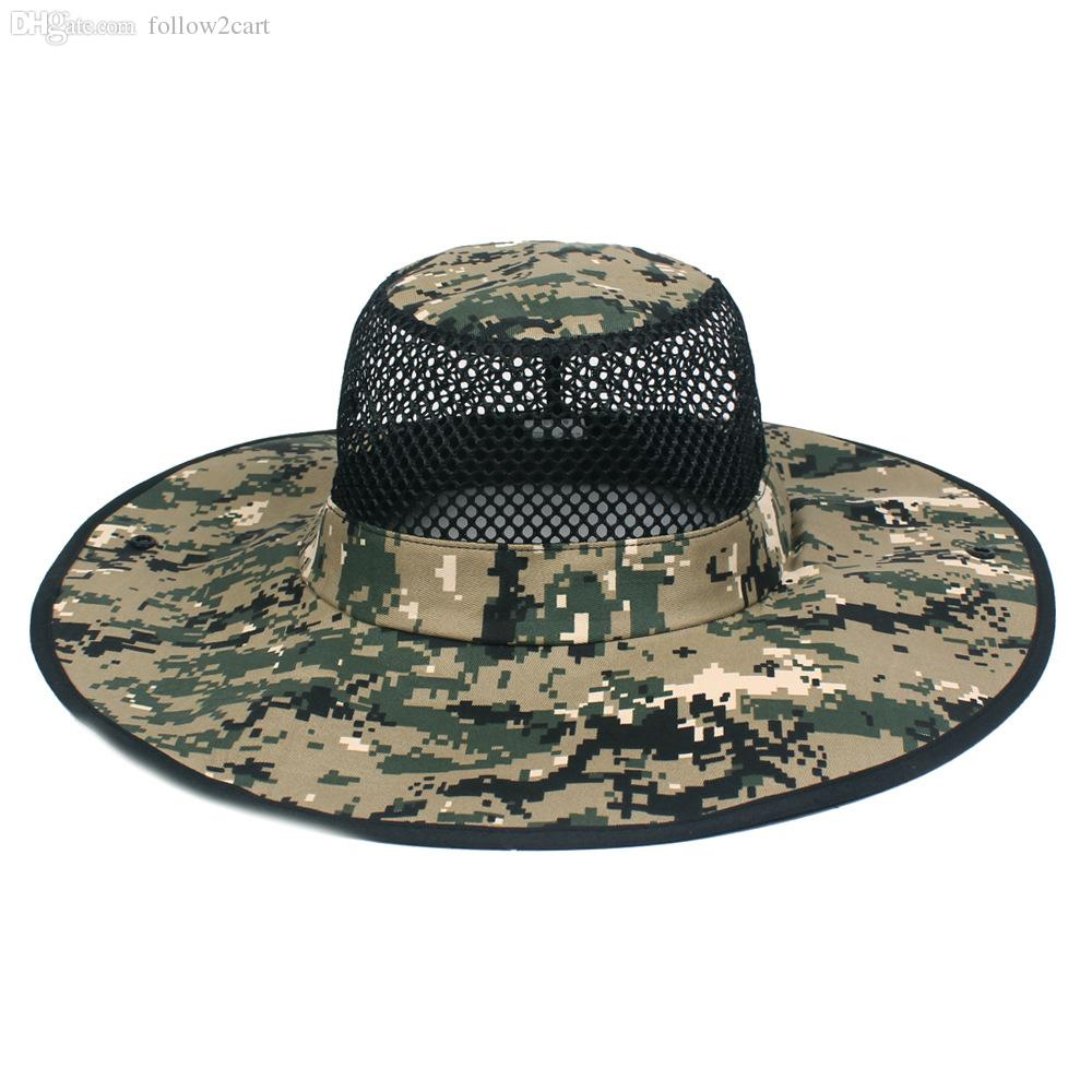 2bdf78707a637 2019 Breathable Mesh Wide Brim Fishing Hats For Men Women Summmer UV  Protection Outdoor Camouflage Hiking Caps From Follow2cart