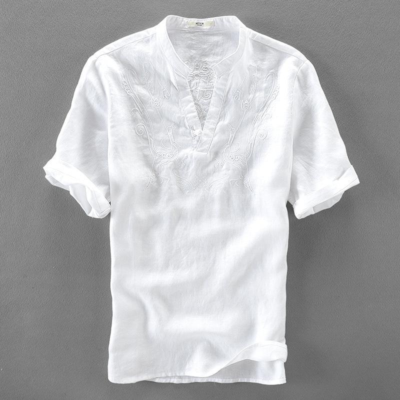 96a842a4d2 Compre Itália Bonito Camisa Branca Homens De Manga Curta Camisas De Linho  Puro Camisa De Moda Masculina Sólida Camisas Casuais Masculinas Soltas  Camisa De ...