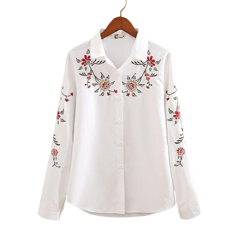 0810f720969 2019 Wholesale Autumn White And Striped Embroidered Female Casual Shirts  Flower Pattern Long Sleeves Square Collar Women Blouses Ladies Tops From  Felix06, ...