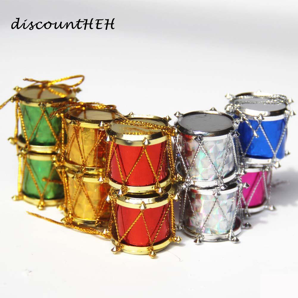 Christmas Drum.12 6pcs 2 5 3 4 5 Cm Drum Blended Color Christmas Xmas Tree Decorations Ornament Santa Claus