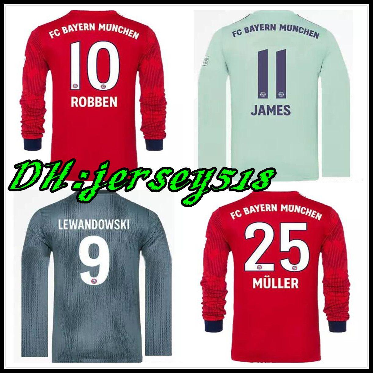 18 19 Camiseta De Manga Larga Bayern Munich Soccer 2018 2019 James KIMMICH  VIDAL LEWANDOWSKI MULLER HOMBRAS TOLISSO Camisetas Kimmich Por Ruohan518 2797f2321e1ca