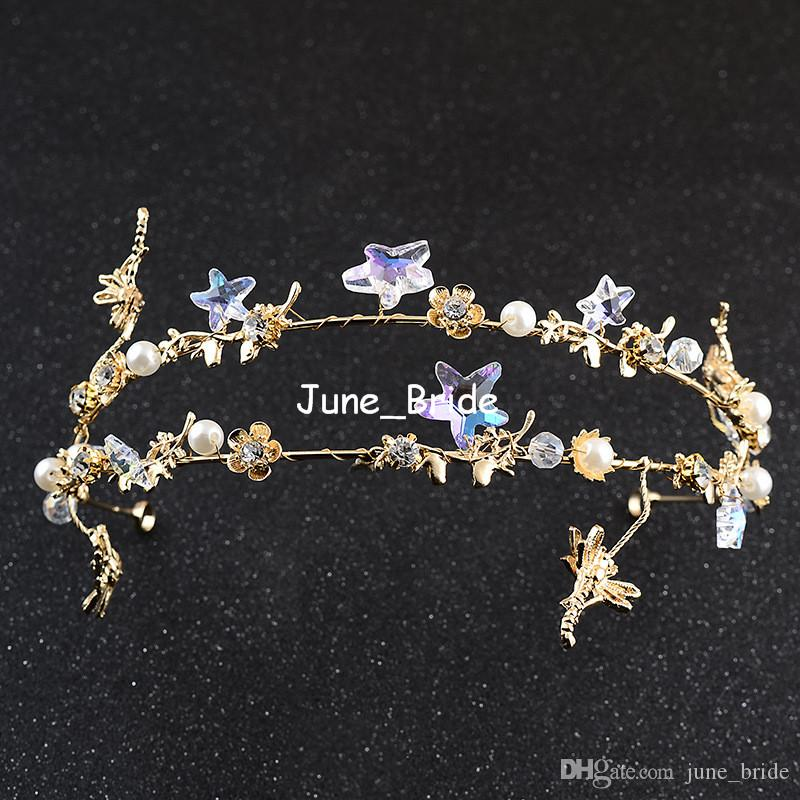 Fairy Baroque Gold Headpiece New Style Romantic Star Floral Pearl Double Row Bridal Tiara Prom Party Hair Jewelry Accessory