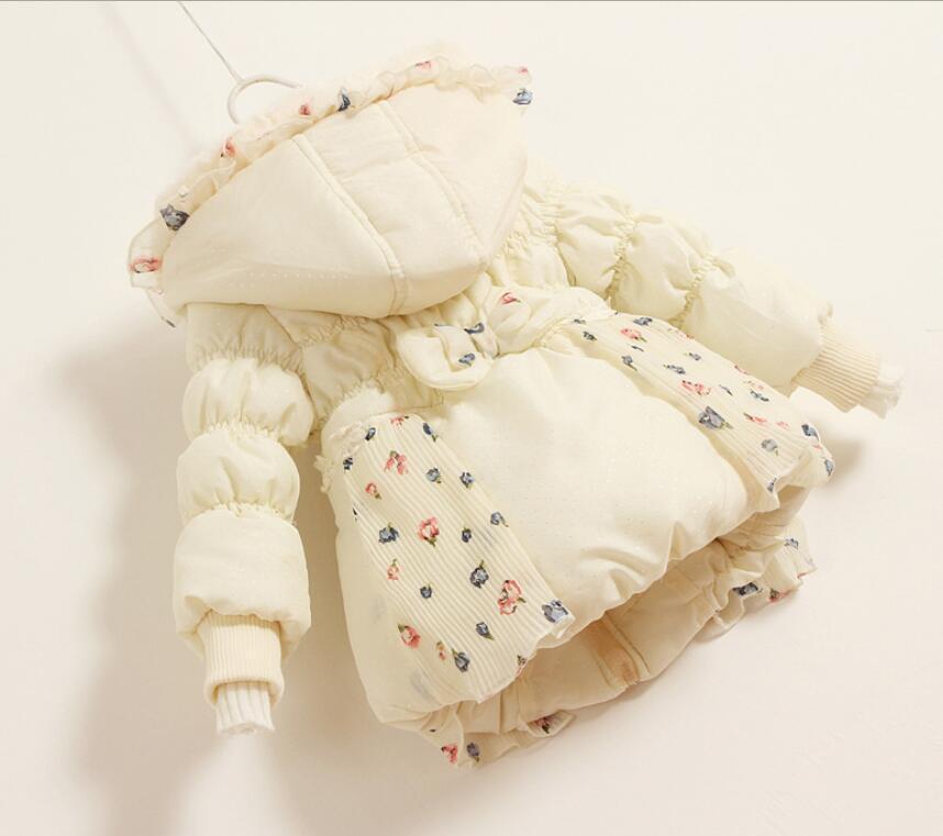New Beautiful Kids Girls Winter Coat Print Small Polka Dot Duck Down Coat Jackets For Girls Fashion Coat With Ruffles Kids Coats