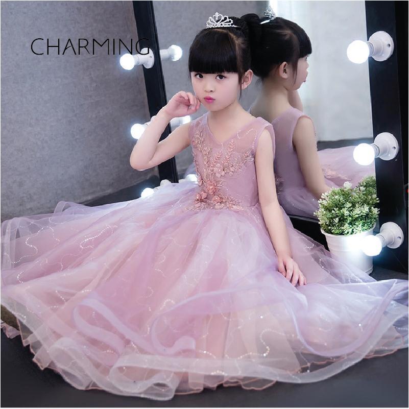 29124ca8263 Girl Dress Purple Belt Skirt Embroidered Dress 3d Floral Wedding Dresses  Baby Girl Party Dress Children Frocks Designs White Girl Dresses Affordable  Flower ...