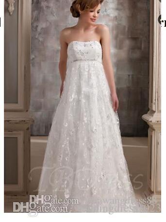 1f501d190264 Acquista Abito Da Sposa Di Maternità In Pizzo Impero Senza Spalline A   158.8 Dal Weddingdress1023