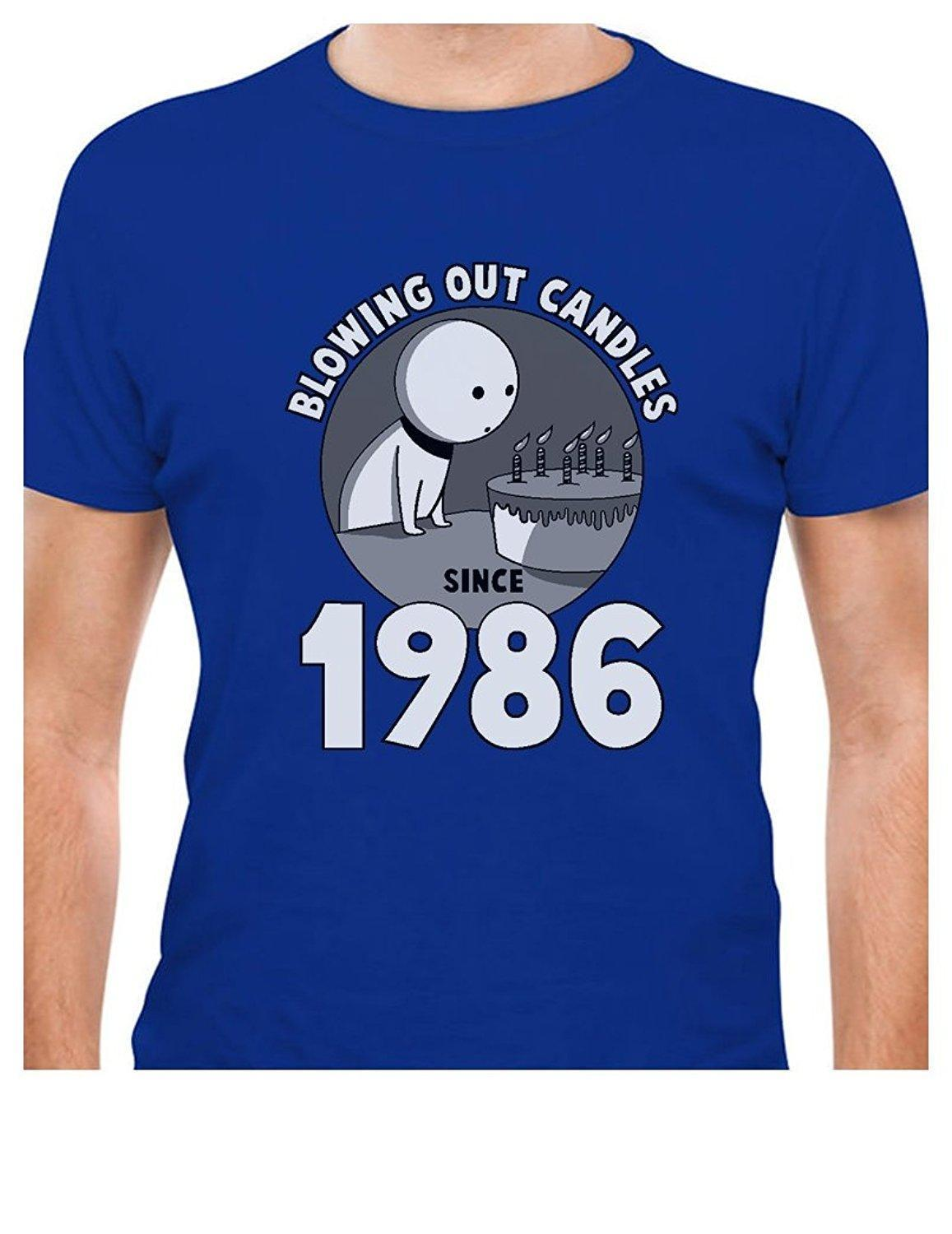 Printed Tee Shirt Design 30th Birthday Gift Idea Blowing Out Candles Since 1986 T Circle Designers Designer Coolest Shirts From