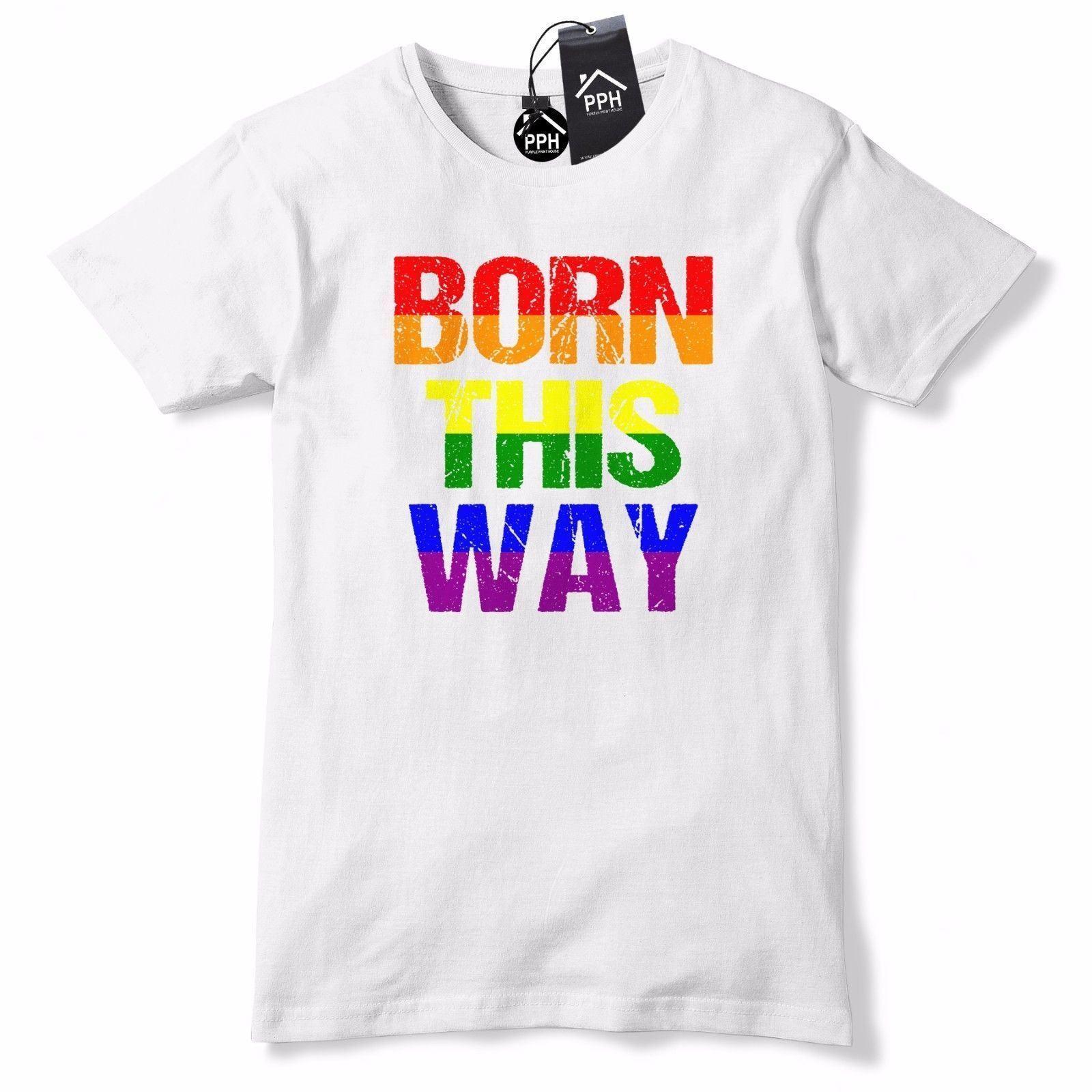Großhandel Geboren Auf Diese Weise Gay Pride T Shirt Regenbogen
