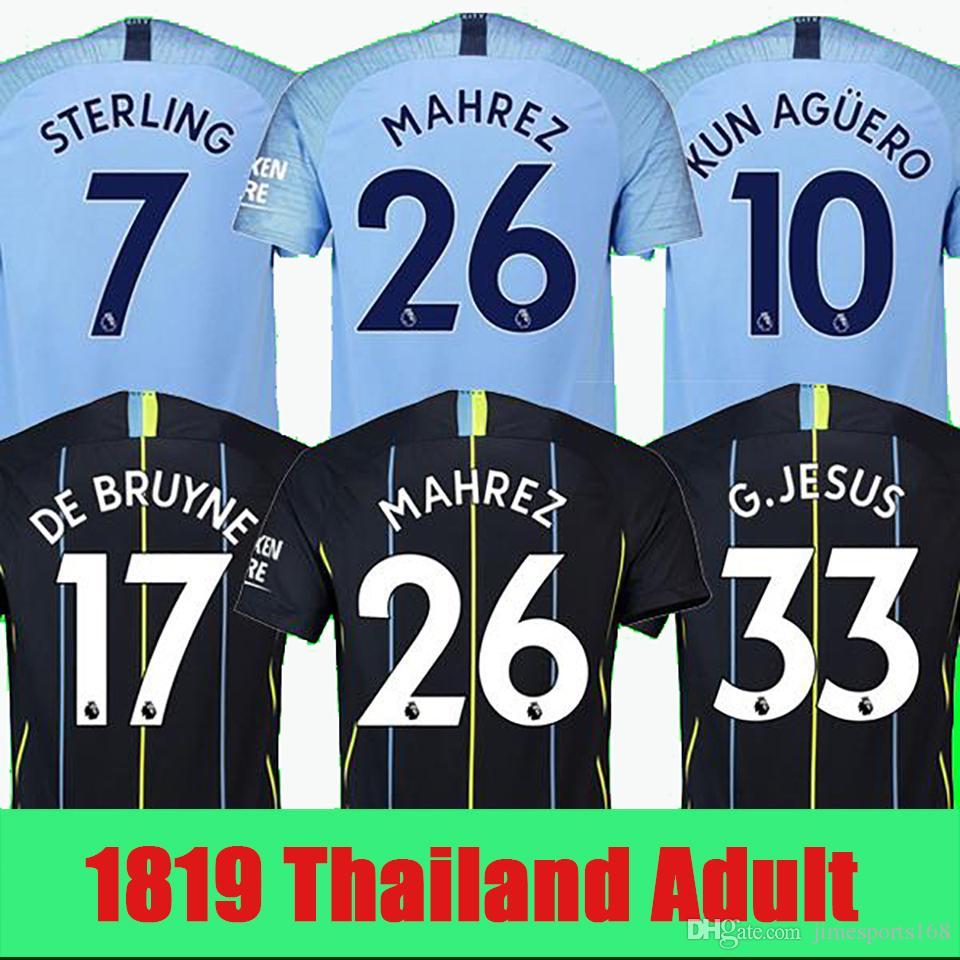 Thailand MAHREZ JESUS DE BRUYNE AGUERO Soccer Jerseys 2019 SANE Jersey 18  19 Football Jersey Top City Soccer Shirt Adult Home Away Uniform MAHREZ  JESUS DE ... 81cd087a63db0