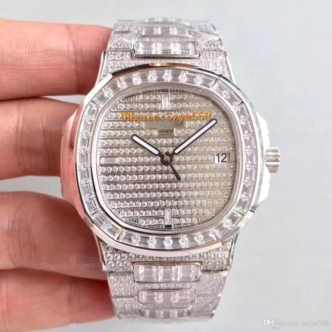 Reloj de lujo La mejor calidad Reloj de diamante Nautilus 5719 40 mm Movimiento automático Reloj de hombre impermeable Conjunto con diamantes Barrido Mover 316 Stainles