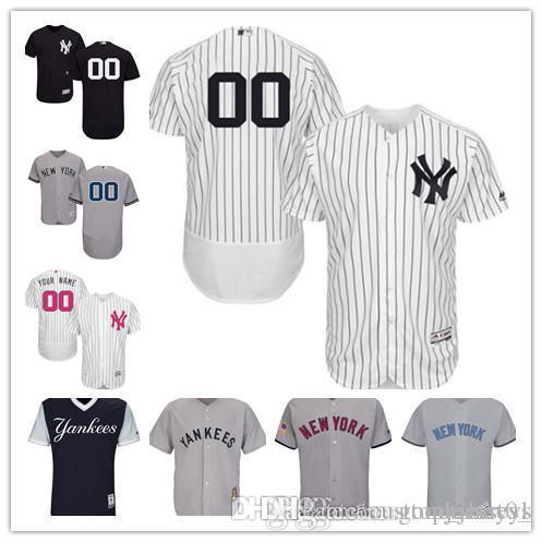 bdd11c35df99a Compre 2018 Personalizado Hombres Mujeres Jóvenes NY Yankees Jersey  Personalizado   00 Cualquiera Tu Nombre Y Número Inicio Negro Blanco Gris  Béisbol ...