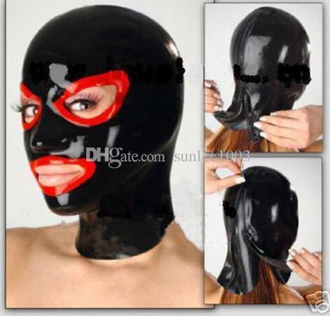 nuove donne esotiche calde cappuccio nero in lattice impiombato femmina maschera occhi aperti femminile su misura babydoll orsacchiotto caldo