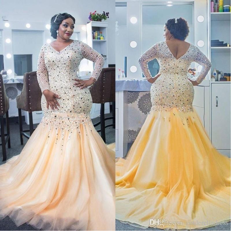 Elegant African Plus Size Evening Dresses V Neck 2018 Beaded Shiny Crystal  Long Sleeves Prom Dress Black Girl Mermaid Party Dress
