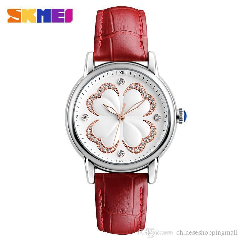 a2f24c3d03c3 Compre Skmei Relojes De Moda Mujeres Reloj De Pulsera De Cuero Genuino A  Prueba De Agua Damas Rhinestones Cuarzo Relojes De Pulsera Mujer