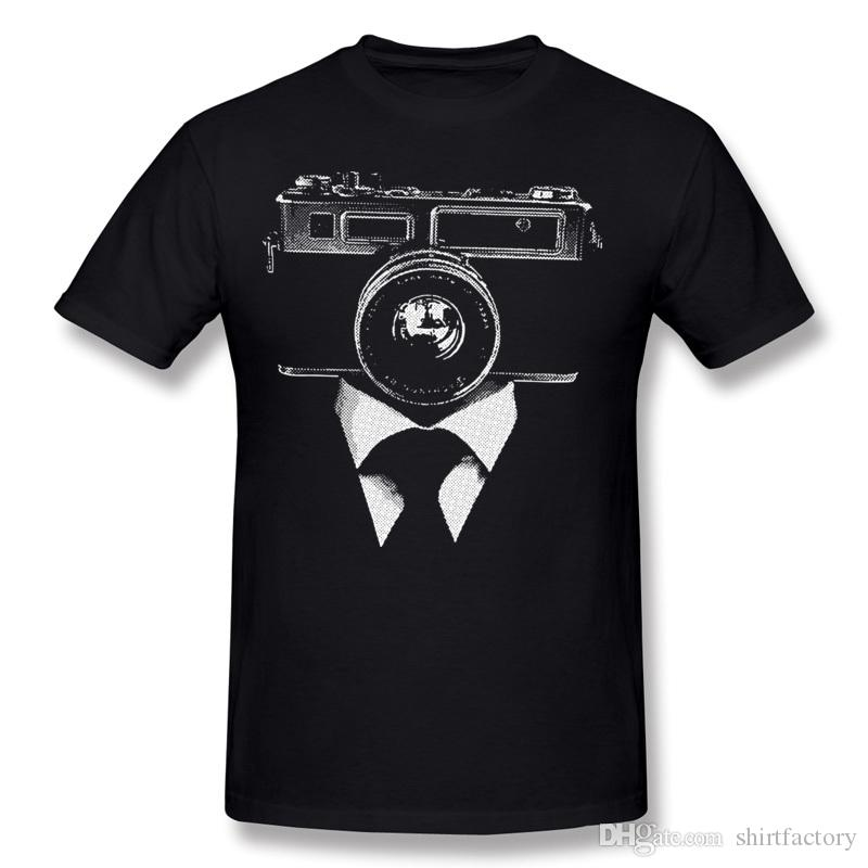 Últimos Hombres 100% tela de algodón Foto Cámara hombre camiseta Hombres O Cuello Blanco Shorts Manga de manga Tamaño grande Camiseta normal